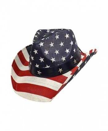 Luxury Divas American Flag Print Patriotic Straw Cowboy Hat - CA12FFTJ25V