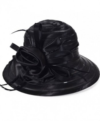 Fanny Cloche Oaks Church Dress Bowler Derby Wedding Hat Party S015 (Black) - CV11X8AGUTZ