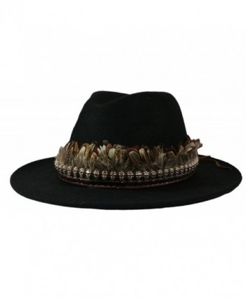 d890cac1339 Simonetta Women s Wool Feel Wide Brim Floppy Fedora Hat with Removable  Band. - A.