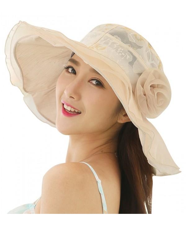 Sumolux Womens Summer Silk Sun Hat Outdoor Fashion Lace Large Brim Beach Hats - Beige - CD1839K9HUQ