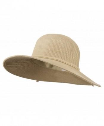 UPF 50+ Solid Cotton Paper Braid Flat Brim Hat - Tan W33S19B - C711D3H9TOR