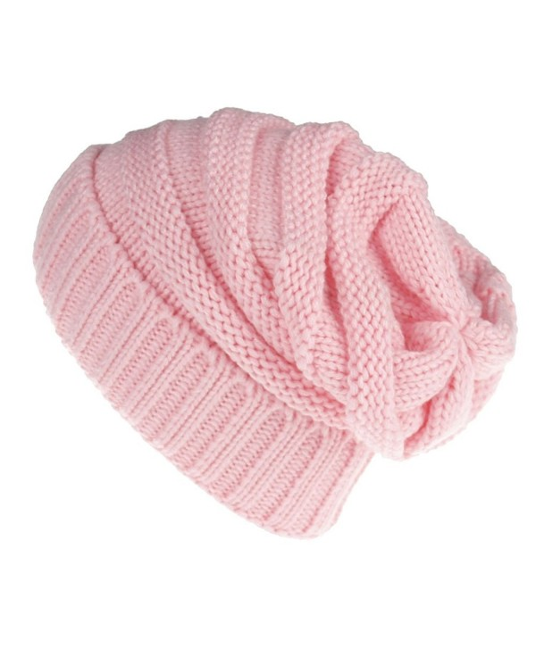 MuNiSa Slouchy Knit Baggy Hat Warm Oversized Stretchy Winter Beanie Cap - Pink - C9186N6D769