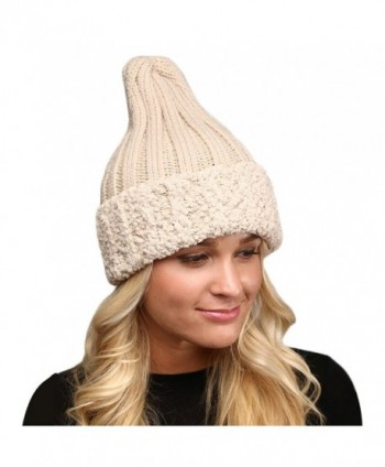 MIRMARU Women's Winter Knitted Long Pointy Top Faux Fur Trim Beanie Hat. - Beige - CR187CY22MO