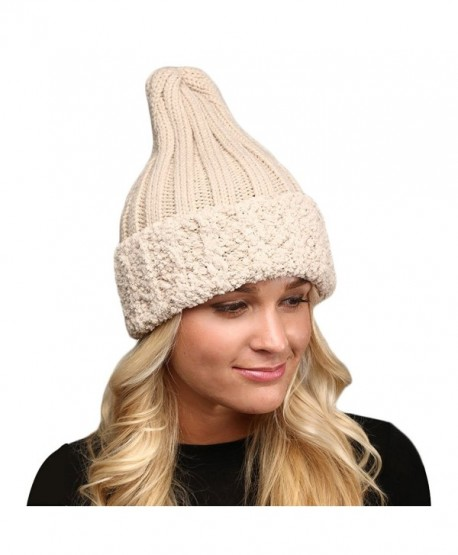 be9258fc6 Women's Winter Knitted Long Pointy Top Faux Fur Trim Beanie Hat. - Beige -  CR187CY22MO