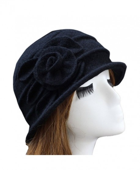 19c36446c42 Ealafee Women 100% Wool Solid Color Round Top Cloche Beret Cap Flower Fedora  Hat -