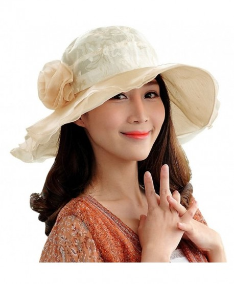 Derby Hat for Women Hindawi Wide Brim Sun Protection Packable Organza Kentucky Church Hat - Beige - C117YSD7XDR