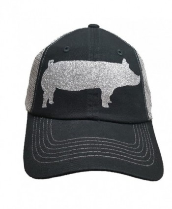 Grey Trucker Style Silver Bling Pig Hat - CA12O8CSCH3