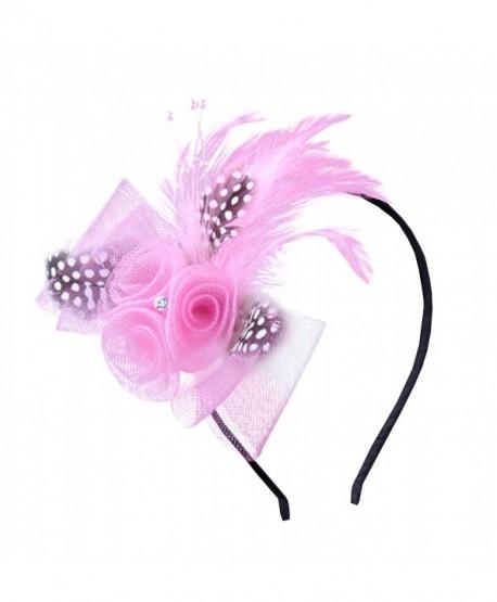 Anita Women's fascinators Bow feather Beaded headband - Pink - C711NQ7NM9R