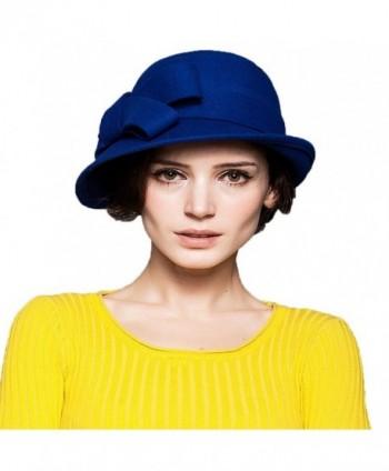 ae45dedc4f0 Maitose trade Women s Wool Felt Bow Flowers Church Bowler Hat - Blue -  C5126NO0JP9