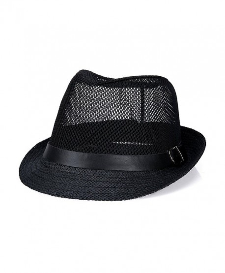 2a4efe203025b Classic Short Brim Straw with Black Band Fedora Hat Caps - Black -  CT12NV7WKT3