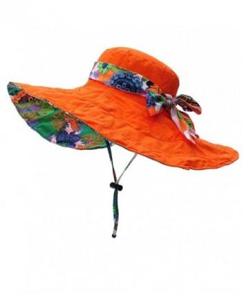 Womens Summer Flap Cover Cap Cotton Anti-UV UPF 50+ Sun Shade Hat Folding Sun Hat Beach Cap - Orange - C5183G262WW