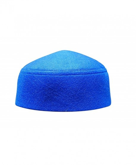 Solid Blue Moroccan Fez-style Kufi Hat Cap w/ Pointed Top - CS12O8PHHWS