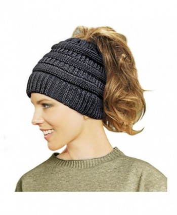 Lamdgbway Trendy Knit Hat Cable Beanie Stretch Chunky Winter Bun Ponytail Beanie - Black - CQ187G6TO57