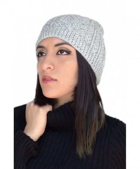 6e6c667bf56 Womens Superfine Alpaca Wool Handknit Beanie Ski Hat Winter Skullcap -  Special Design - Silver Gray - C212I6SLQHZ