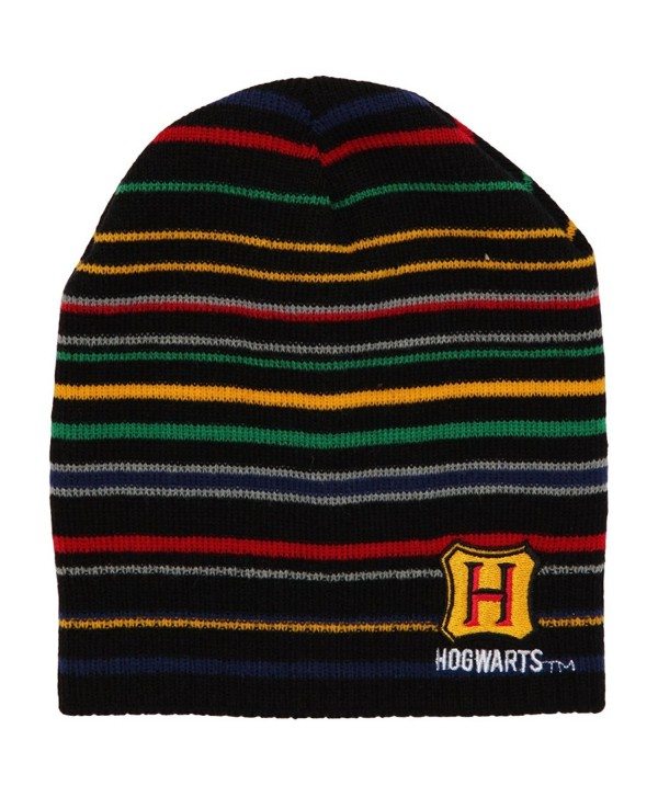 Harry Potter Hogwarts Striped Knit Beanie Winter Hat - CC12NEQ2KUE