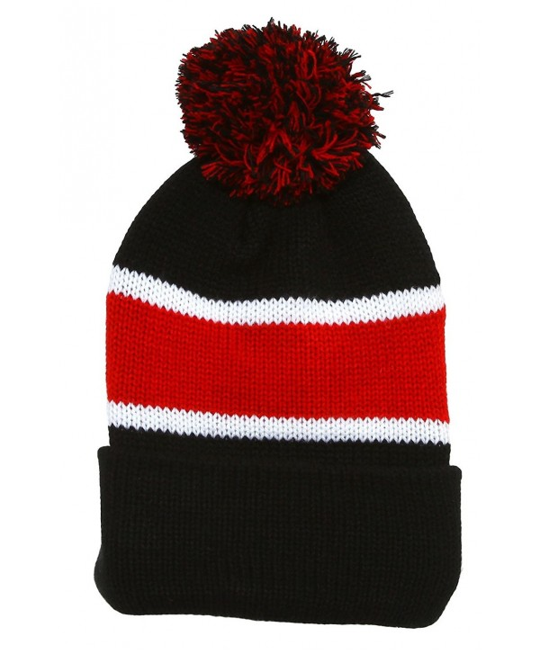 Winter Striped Beanie with Pom - Black/Red - C8110TVVYOX