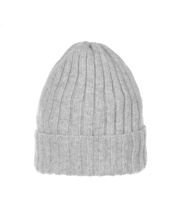 WITHMOONS Wool Ribbed Knitted Beanie Hat Slouchy Bobble Pom AC5476 - Grey - CD12NDU97FZ