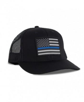 Hoo-Rag Thin Blue Line American Flag Flexfit Hat - Snapback Mesh Trucker - CY12FOV0KXD