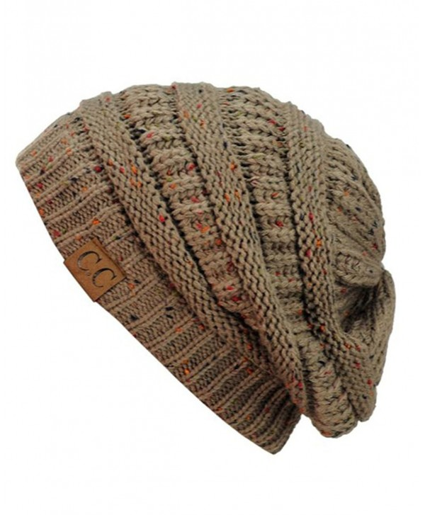Trendy Warm Chunky Soft Stretch Cable Knit Slouchy Beanie Skully HAT20A (Confetti Taupe) - CC129FZQNN5