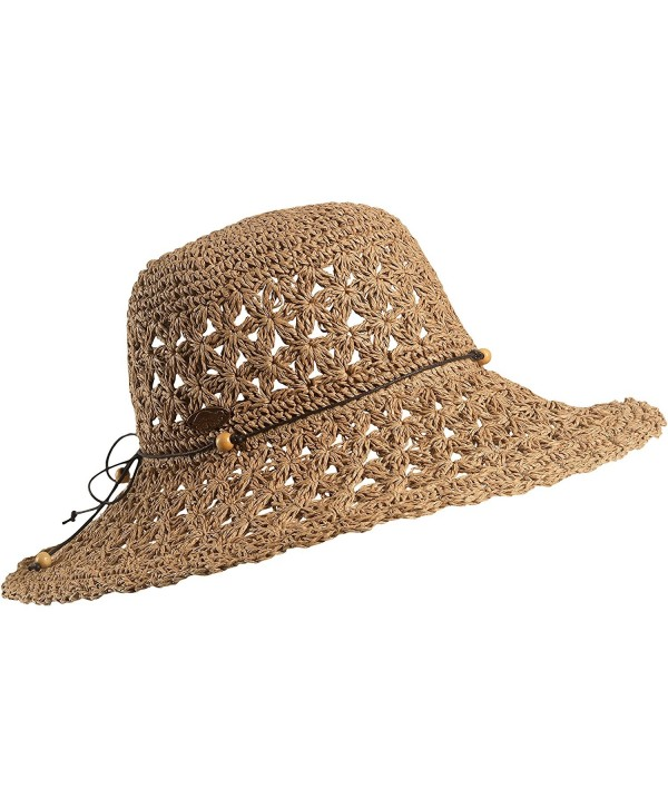 Turtle Fur Chara Women's Floppy Oversized Brim Straw Beach Sun Hat Vermont Collection Sun Style - Brown - CK11YXPF5QT