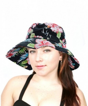 NYFASHION101 Floral Print Crushable Marina Wide Floppy Brim Bucket Sun Hat - Black Floral - CO11X74QGGF