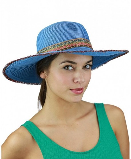C.C Multicolored Woven Band and Fringed Brim Summer Beach Floppy Sun Hat - Blue - CM17YUCCXXU