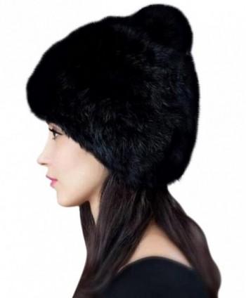 Urban CoCo Women's Winter Warm Beanie Rabbit Fur Hat Pom Pom Cap - Black - CG12OBJ23X6