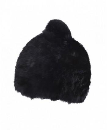 39ce5690d Women's Winter Warm Beanie Rabbit Fur Hat Pom Pom Cap - Black - CG12OBJ23X6
