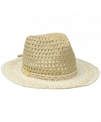 Betsey Johnson Women's Golden Hour Panama Hat - Ivory - CI17Z3CWZO5