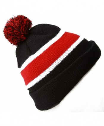 Winter Striped Beanie Pom Black