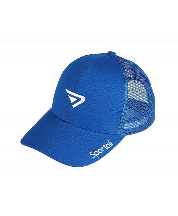 Sportoli Adult and Kids Cotton Blend and Mesh Snapback Trucker Baseball Cap Hat - Royal - CB127DEQ4BV