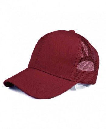 Hatsandscarf C.C Ponytail Caps Messy Buns Trucker Plain Baseball Cap (BT-4) - Burgundy - CB1802MY9AQ