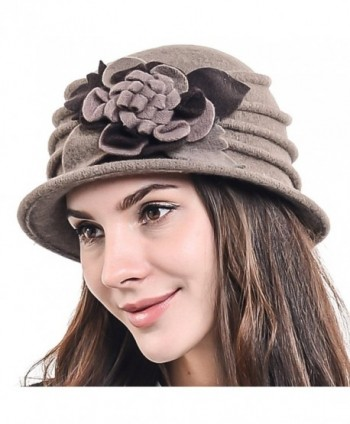 F&N STORY Women's Elegant Flower Wool Cloche Bucket Ridgy Bowler Hat 09-co20 - Brown - C5125YOO3OR