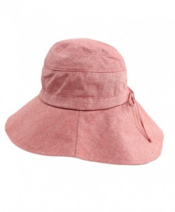 Foldable Sunhat Wide Brim Summer Flap Cover Cap with Neck Cover Cord for Women - Pink - C817YUIZIG9