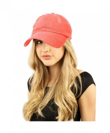 Distressed Stone Wash Denim Summer Cotton Baseball Cap Hat Adjustable - Coral - CM184Y7MX4S