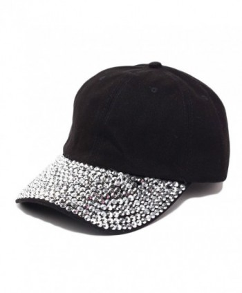 Raylans Women Men Adjustable Rhinestone Studded Bling Tennis Baseball Cap Sun Cap Hat - Black - C912JCJVTAZ