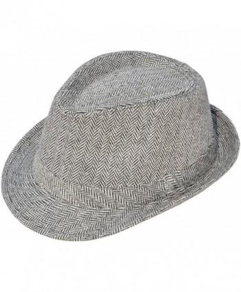 Simplicity Men's Short Brim Gangster Sun Fedora Hat Costume Accessory w/ Band - 3071_black/White Chevron Print - CH11XQ7VUB9