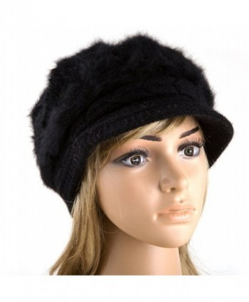 Mullsan Women Slouchy Beanie Newsboy Cap Warm Knit Snow Ski Caps - Black - CB11T6AUFFV