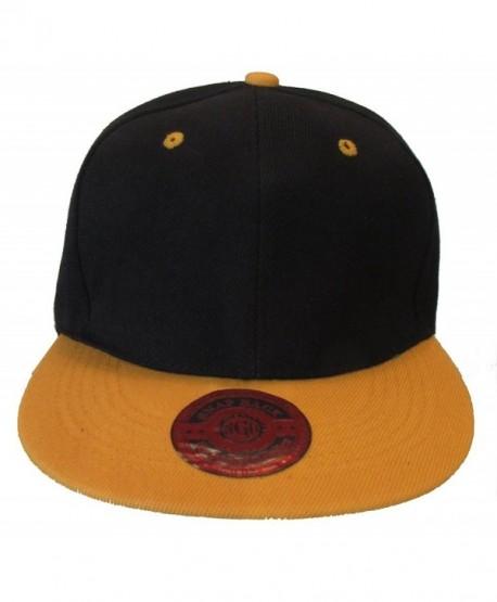 Premium Plain Two-Tone Flat Bill Snapback Hat - Baseball Cap - Black/Gold - CR11KV8XRM1