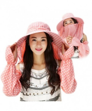 [BTW.JP] Women's Sun Hat with Face and Arm Cover Set Gardening Outdoor Fashionable Included - Blue - C7183GR3U28