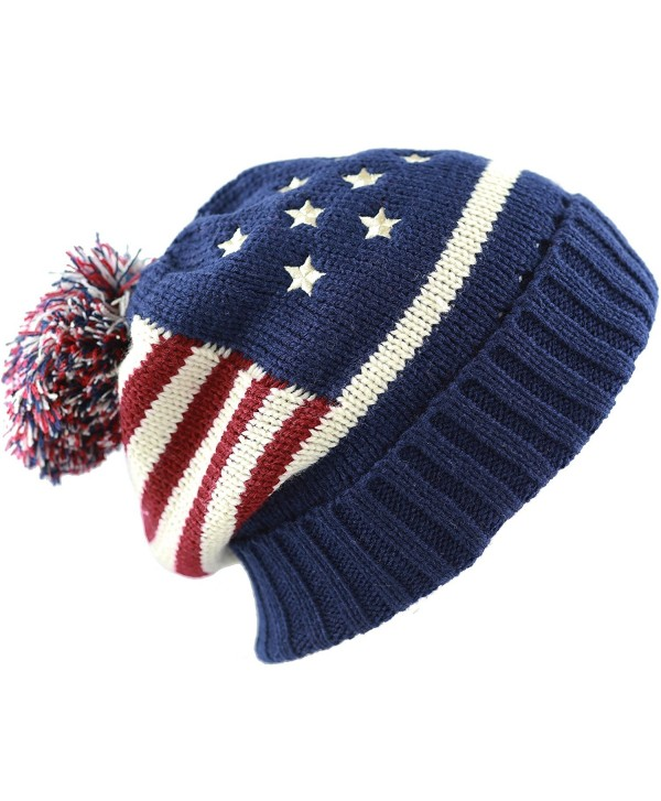The Hat Depot 900 American Flag Thick Knit Beanie with Pom Pom Winter Hat -1Color - Navy-red - CX17YH6RE9L