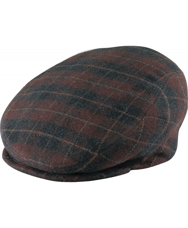 Henschel Italian Wool Blend Plaid Ivy League Driver Cap with Satin Lining - Brown Plaid - CG11B6UB5ZJ