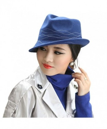 June's Young Women Hats Cloche Wool Simple Wave Lines - Blue - CC185TICL5M
