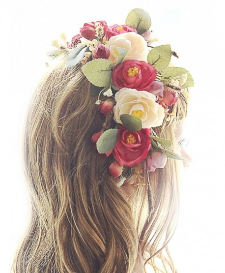 Missgrace Flower Wreath Headband Floral Crown Garland Halo for Wedding - CH12N3Z2V2J