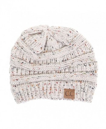 Funky Junque FunkyJunque C.C Confetti Knit Beanie - Thick Soft Warm Winter Hat - Unisex - Oatmeal - CP126KV4B1X