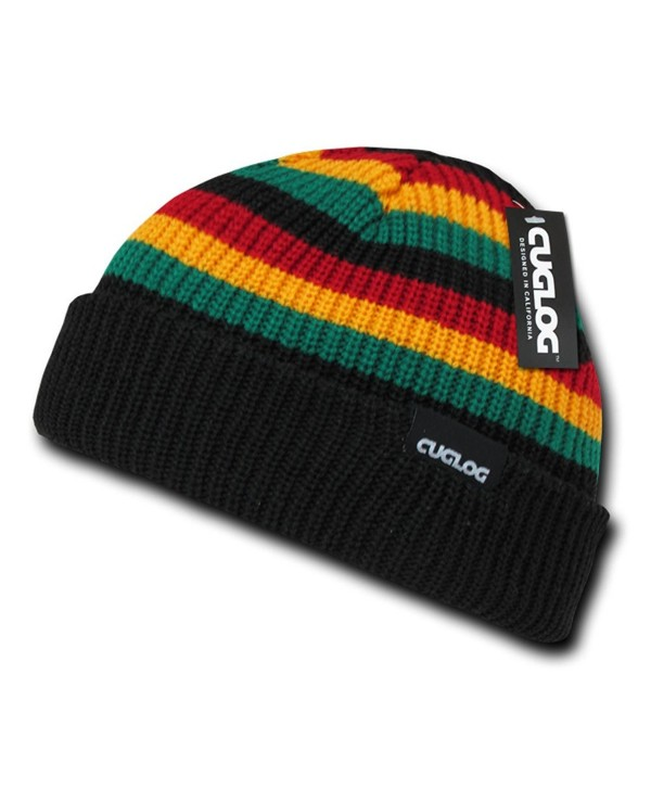Rasta Inspired Striped Short Cuffed Beanie by Cuglog (Rasta Color) - CQ11CDP14HP