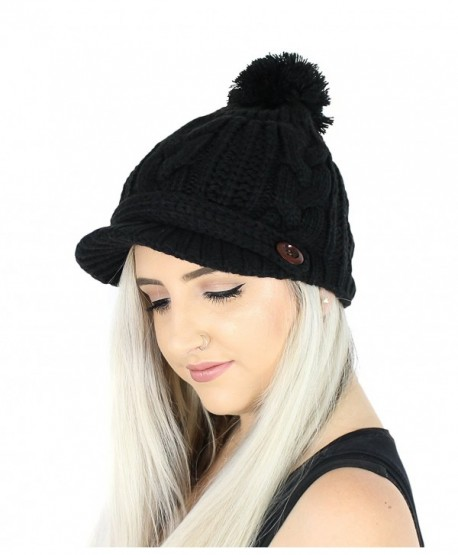PomPom Cable Ribbed Knit Beanie Hat w/ Visor Brim - Chunky Winter Skully Cap - Black - CE1868D003W