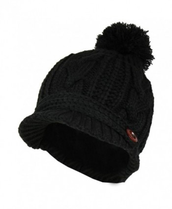 Black PomPom Cable Ribbed Beanie