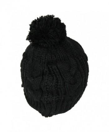 b0c44f1286e Available. PomPom Cable Ribbed Knit Beanie Hat w  Visor Brim - Chunky  Winter Skully Cap -  Black ...