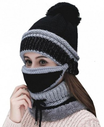 Annymall Womens Beanie Hat Scarf Mask 3 In 1 Set- Winter Warm Slouchy Knit Cap and Scarf - Black - CQ188E2NU66